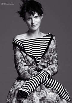 Stella Tennant black white striped shirt V magazine