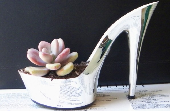 silver stiletto planter