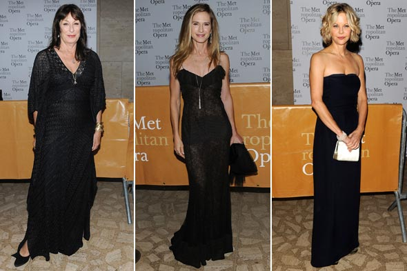 Anjelica Huston Holly Hunter Meg Ryan black dresses opening night Metropolitan Opera