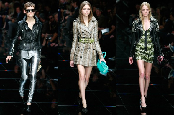 burberry spring 2011 london fashion week silver pants black leather jacket silver python trench leopard dress
