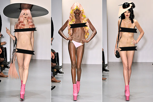 Wig designer Charlie Le Mindu raised eyebrows by sending nude models down ...