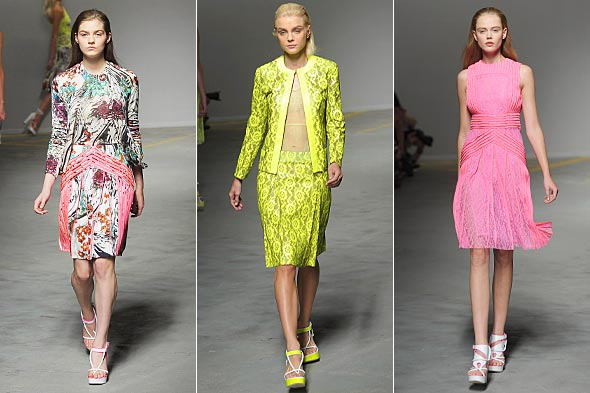 christopher kane london fashion week spring 2011 neon skirt jacket dress pink yellow