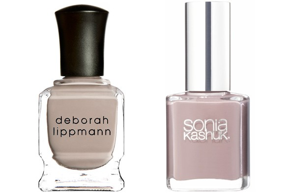 Deborah Lippmann Nail Lacquer in Waking Up in Vegas Sonia Kashuk Nail Colour in Tauped