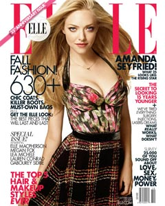 Amanda Seyfried Elle magazine Anniversary issue cover watercolor print halter top 