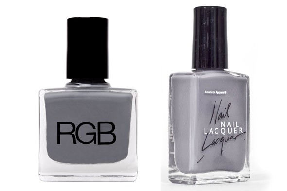 RGB Cosmetics Nail Lacquer in Steel American Apparel Nail Polish in Factory Grey