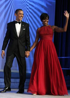 Michelle Barak Obama red gown Congressional Black Caucus Foundation Phoenix Awards