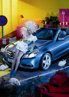 Milla Jovovich Phillip Treacy hat Mercedes Benz Express Your Style campaign