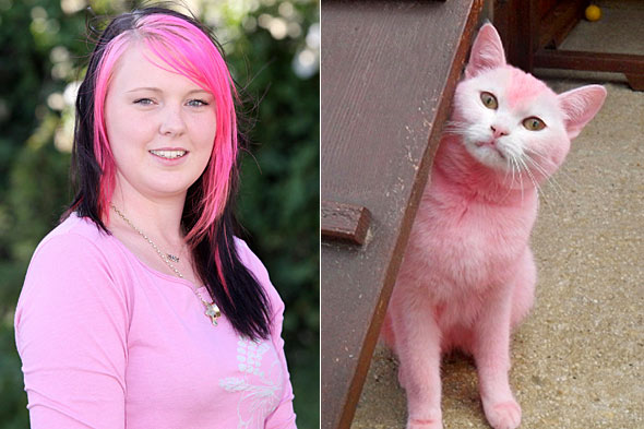 Natasha Gregory matching pink cat