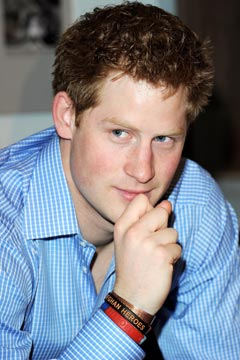 Prince Harry,wearing Help for Heroes wristband