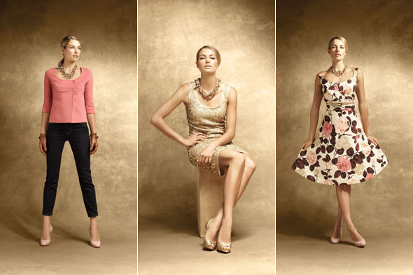 talbot's holiday 2011 holiday preview pink cardigan black cropped pants gold dress rose print dress