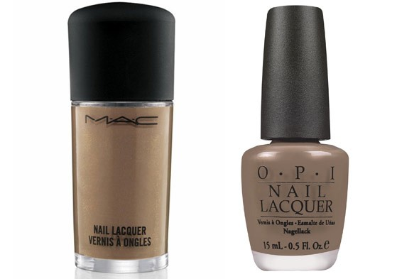 M.A.C. Cosmetics Nail Lacquer in Earthly Harmony OPI Nail Lacquer in Over the Taupe