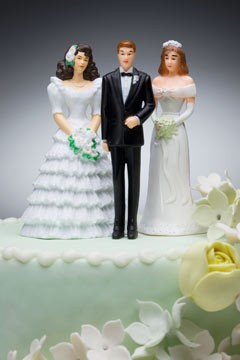 cake topper groom two brides
