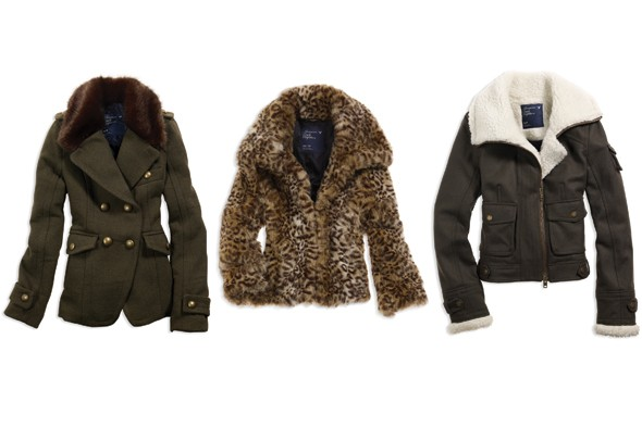american eagle holiday 2011 preview green fur collar jacket leopard coat aviator shearling leather