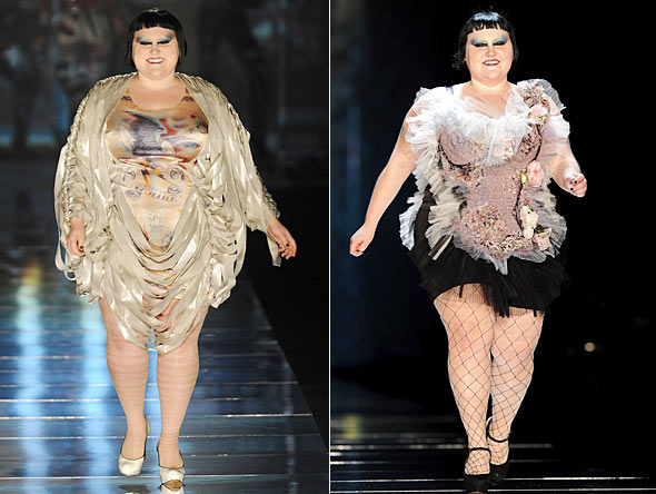 beth ditto jean paul gaultier paris spring 2011 runway show gold drapes rose corset with tulle and fishnet stockings