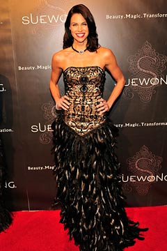 brooke burns feathers black corset chocker sue wong