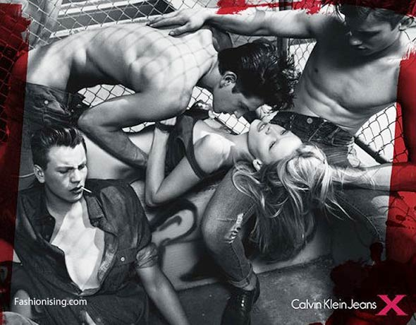 Calvin Klein dangerously sexy jeans ad Lara Stone