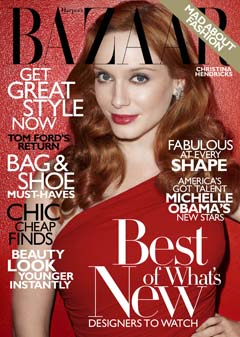Christina Hendricks Harpers Bazaar November 2010 cover red one-shoulder Michael Kors dress