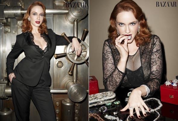Christina Hendricks Harpers Bazaar November 2010 issue black lace dress pantsuit diamonds jewelry