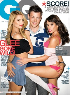 cory monteith rugby shirt lea michele pink heels bra panties white tshirt diana agron entertainment GQ cover Glee
