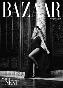 Georgia May Jagger November 2010 cover Harper's Bazaar plunging black Lanvin swimsuit skirt