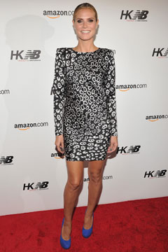 Heidi Klum New Balance launch party long sleeve minidress blue pumps