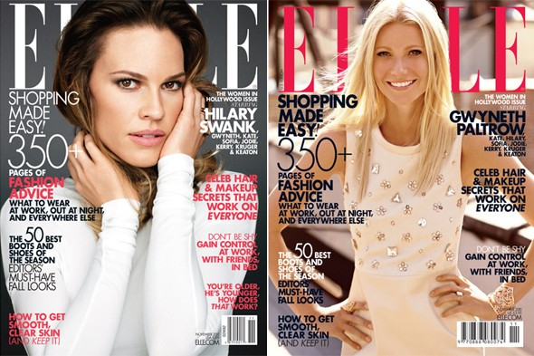 hilary swank white top gwyneth paltrow mirror shift dress elle magazine november cover women in hollywood