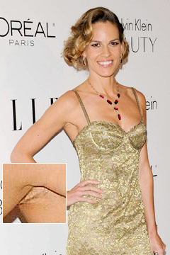 hilary swank hairy armpits elle women in hollywood tribute party gold dress
