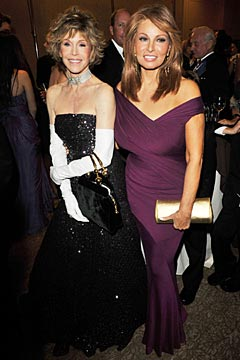 Jane Fonda Raquel Welch black strapless gwon purple gown gloves