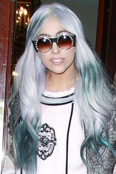 lady gaga gray hair blue streaks