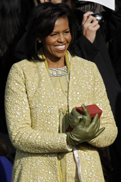 Michelle Obama Lincoln Bible Inauguration green J.Crew gloves