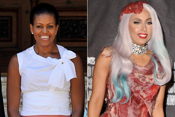 Michelle Obama sleeveless top Lady Gaga meat dress Forbes 100 most powerful women 2010