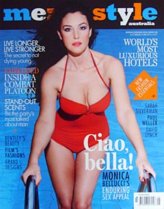 Monica Bellucci Men's Style magazine cover red bathing suit cleavage