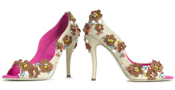 new Roger Vivier heel pink white peep-toe pump flower embellishments