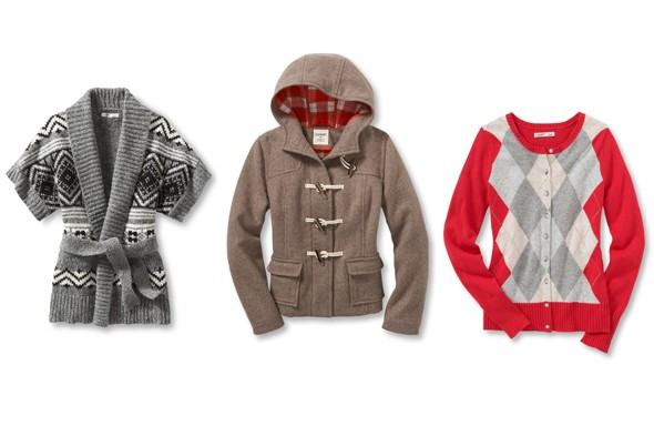 old navy holiday 2011 preview fair isle belted cardigan brown toggle hood coat pink grey white argyle cardigan