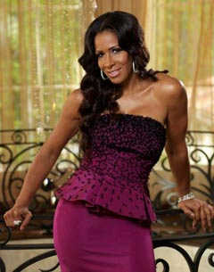 Real Housewives of Atlanta Sheree Whitfield pink strapless dress