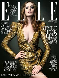 Anne Hathaway Elle UK December cover gold balmain dress