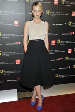 Carey Mulligan best dressed blue pumps full pleated skirt