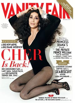 Cher Vanity Fair December 2010 cover black leotard fishnets
