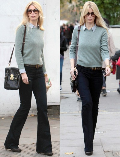 claudia schiffer same outfit walk of shame dark jeans btton-down blouse pale green sweater oversized sunglasses black bag