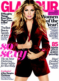 Fergie Glamour magazine cover December 2010 red velvet Dsquared2 blazer