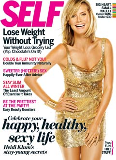 Heidi Klum Self magazine december 2010 cover