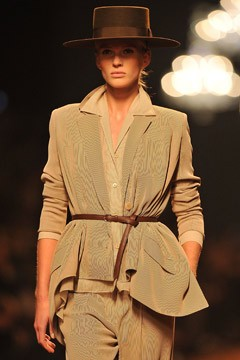 hermes spring 2011 runway tan jacket belted sharp shoulders