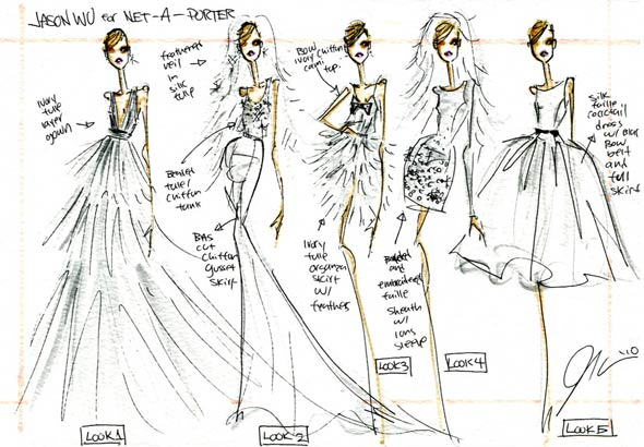 jason wu wedding dresses sketches net-a-porter