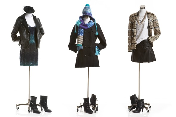 jcpenney holiday 2011 preview black leather jacket beret scarf hat bpeacoat lace gold cardigan black skirt botties lace up