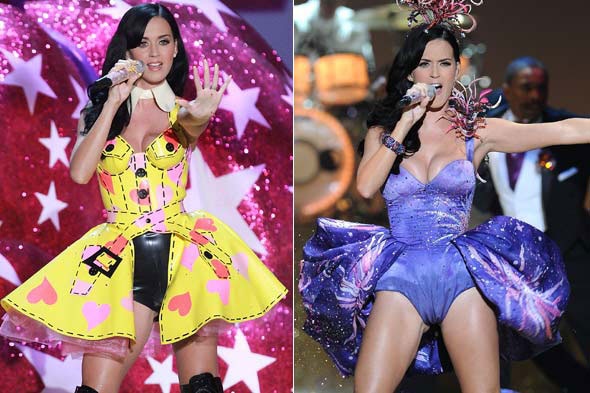 katy perry victoria's secret fashion yellow dress with pink hearts purple fire work dress