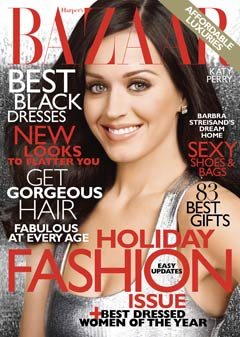Katy Perry silver top harpers bazaar cover december hoiday fashion issue