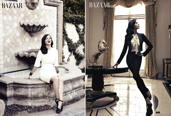 Katy Perry white dress black blazer high waisted pants white bow top harpers bazaar hoiday fashion issue