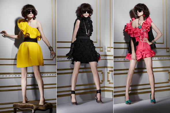 Lanvin (Hearts) H&M collection yellow pink black dresses ruffles sunglasses