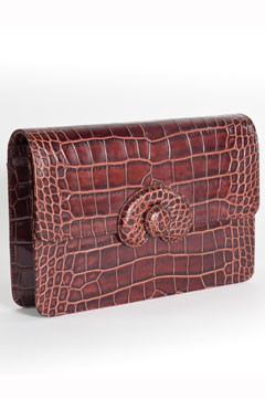 croc-embossed clutch Mark Cross