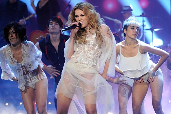 Miley Cyrus sheer white dress underwear Germany